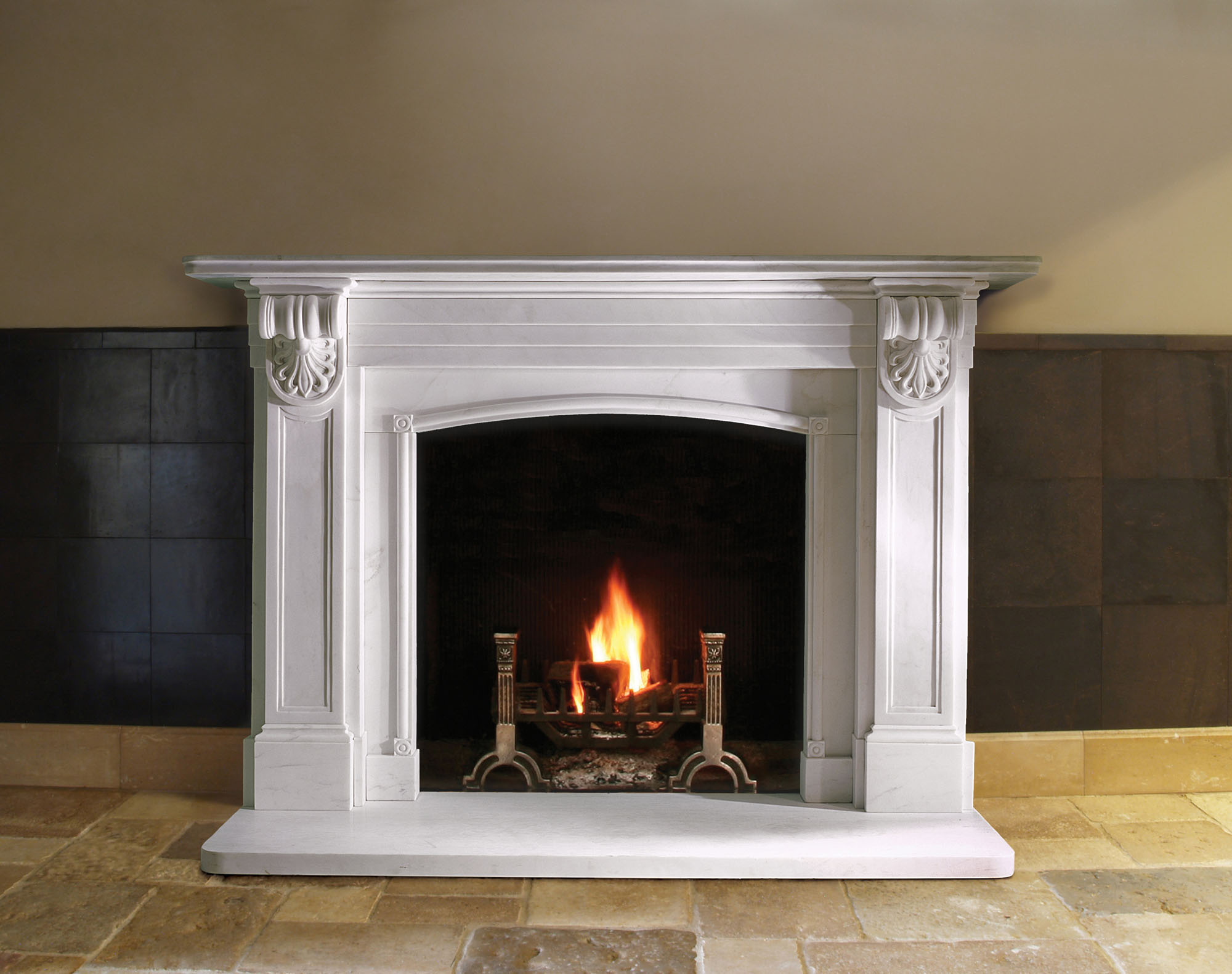 Choosing a hearth for a stone fireplace martin moore stone for Choosing a fireplace