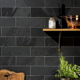 Black Riven Slate Bricks