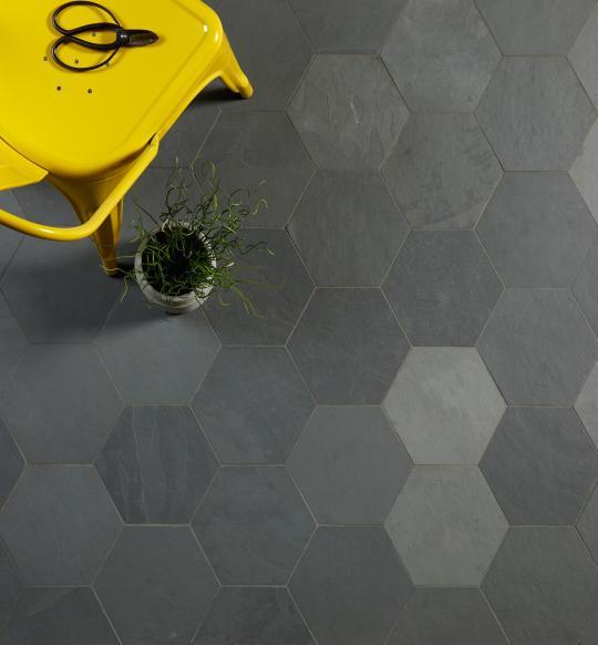 Grey Riven Slate Hexagons